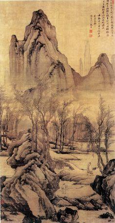 "Tang Yin(唐寅) , 步溪图 北京故宫博物院藏. 正德九年(1514年),曾应宁王朱宸濠之请赴南昌半年余,后察觉宁王图谋不轨,遂装疯甚至在大街上裸奔才得以脱身而归。晚年生活困顿,54岁即病逝。他临终时写的绝笔诗就表露了他刻骨铭心的留恋人间而又愤恨厌世的复杂心情:""生在阳间有散场,死归地府又何妨。阳间地府俱相似,只当飘流在异乡。"""
