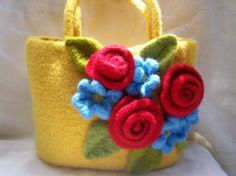 Yellow Crochet Felted Handbag Purse Knitted Red Roses Blue Posies