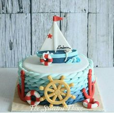 47 Ideas Baby Shower Cake Funny Ideas For 2019 Nautical Birthday Cakes, Nautical Cake, Baby Birthday Cakes, Baby Cakes, Baby Shower Cakes, Pink Cakes, Cupcakes, Fete Marie, Marine Cake