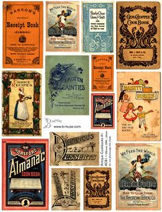 Two covers Vintage cookbooks | Antique Cookbook Covers #1 - Collage Sheets