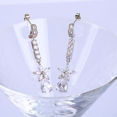 Fashion Silver Plated Drop Earring CZ Diamond Cubic Zirconia Crystal Dangle Hypoallergenic Earring for Girls Party ER0091