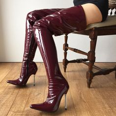 Latex dolly love — rtbu: Crotch hi boots in patent raisin (swatch...