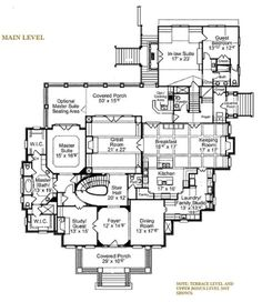 Classical Style House Plan - 5 Beds 5.00 Baths 6570 Sq/Ft Plan #429-47 Floor Plan - Main Floor Plan - Houseplans.com
