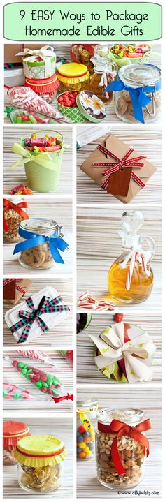 Check out these 9 super easy ways to package edible gifts. Adds a nice personal touch to homemade gifts! Best Christmas Cookies, Christmas Goodies, Holiday Gifts, Christmas Crafts, Christmas Holidays, Jar Gifts, Food Gifts, Craft Gifts, Diy Cadeau