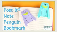 Origami Bookmark - Origami Penguin Bookmark - Post-it® Note Crafts - Easy Paper Crafts for Kids. In this origami tutorial, Ill show you how to fold an origami penguin bookmark with one Post-it® Note. This bookmark requires 1 Post-it® Note, and utilizes Origami Swan, Origami Fish, Origami Folding, Kids Origami, Origami Ball, Origami Penguin, Origami Animals, Paper Crafts Origami, Paper Crafts For Kids
