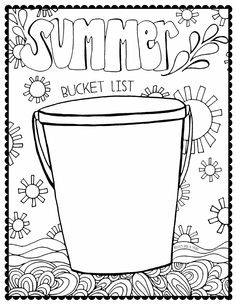 Summer Bucket List Coloring Page