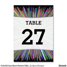 Colorful Line Burst Pattern Table Number Cards Table Numbers, Finding Yourself, Card Holder, Colorful, Pattern, Cards, Nice, Design, Wedding Table Numbers