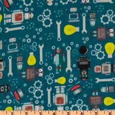 Amazon.com: 43'' Wide Robots Flannel Blue Fabric By The Yard: Arts, Crafts & Sewing