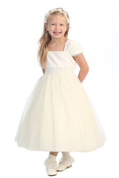 Pleated Cap Sleeve Satin & Mesh Communion Dress by Kid's Dream (Ivory)