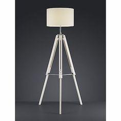 ☆ SALE ☆ Stehleuchte Trio Holz Stoffschirm weiß Stehlampe
