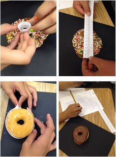 teaching surface area and volume concepts with donuts Geometry Lessons, Teaching Geometry, Geometry Activities, Algebra Activities, Math Lessons, Teaching Math, Maths, Math Teacher, Math Games