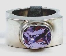 Purple Pinkish  New Big Wide Sterling Silver Sarda Band Ring Size 6 Ring NWT