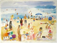 """Mark Mulhern, AFTERNOON AT THE BEACH, Watercolor, 22 1/2 X 30"""" Tory Folliard Gallery"""