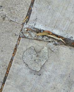 Heart on the sidewalk. ..outside the Tattered Door, Oak Street.  San Buenaventura,  CA ❤