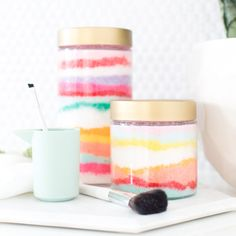 Make this colorful DIY sugar scrub that is not only a piece of art, but functional too!