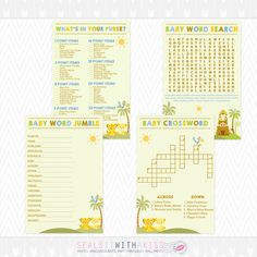 Baby Lion King Baby Shower Game Bundle (Crossword, Word Search, Word Scramble) Instant Download by SealsItWithAKiss