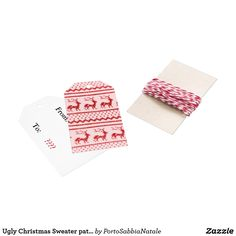 Ugly Christmas Sweater pattern Gift Tags