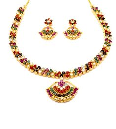 Pearlscart Navratna Temple Necklace Set #necklaceset #fashionjewellery