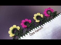 614-Çiçekli tığ oyası yapılışı - YouTube