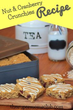 Nut And Cranberry Crunchies Recipe - The Super Moms Club Super Mom, Baking Recipes, Lunch Box, Yummy Food, Snacks, Breakfast, Link, Easy, Cooking Recipes