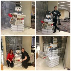 Butler Library built a snowman out of paper reams