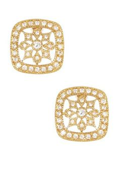 Pave CZ Halo Cutout Square Flower Earrings  by Timeless Elegance: Classic Jewelry on @HauteLook