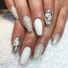 White gold glitter and foil