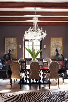 Dining Room - Love the muted purple wall color, the zebra rug, chandelier and the dining table. Dining Room Inspiration, Interior Inspiration, British Colonial Style, Purple Walls, Purple Zebra, Dusty Purple, Boho Home, Elegant Dining, Dining Room Design