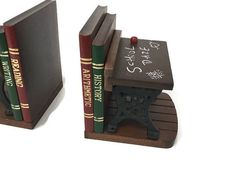 School Desk Bookends, Funny Bookends, Vintage Bookends, Handmade Bookends…