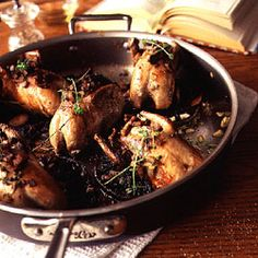 QUAIL WITH PORTOBELLO MUSHROOMS @Ashley Walters Sloan this might be good? i can come over early and help if you want :)