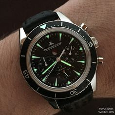What's On Your Wrist? — Lumeshot of the JLC Deep Sea Chronograph. Stylish Watches, Watches For Men, Wrist Watches, Jaeger Lecoultre Watches, Luxury Condo, Bvlgari, Deep Sea, Vintage Watches, Omega Watch
