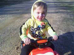 Jakob's new Cars  4wheeler Santa brought him!