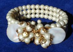 Vintage Miriam Haskell MOP Pearl 3 Row Multi Strand Wrap Bracelet Unsigned