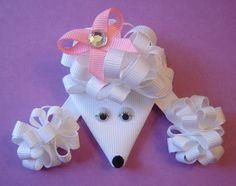 Girls M2MG Gymboree 2012 Parisian Chic  Ooh La La, Yvette, The White Poodle Ribbon Sculpture Clippie with Loopy Hair and Ears