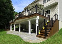 Custom Trex Deck - Downingtown, PA - Keystone Custom Decks Source by Patio Under Decks, Low Deck, Decks And Porches, Pergola Patio, Lancaster, Deck Building Plans, Downingtown Pa, Deck Builders, Grades