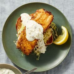 Egg-Battered Fishwiches on Toast with Yogurt Tartar Sauce Recipe - Rachael Ray Every Day Seafood Dishes, Fish And Seafood, Seafood Recipes, Cooking Recipes, Seafood Meals, Fish Dishes, Chicken Ragu, Rotisserie Chicken, Best Fish Recipes