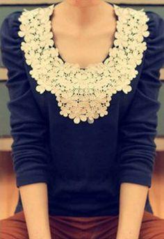 Lace Embellished T-Shirt   dresslily.com