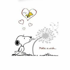 Snoopy making a love-filled wish for Woodstock.