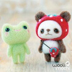 Strawberry-hat Panda & Frog Needle Felting Kit