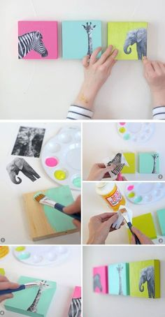 like the idea - just different pics DIY Painted Wood Block Nursery Art | Click for 25 DIY Nursery Decor Ideas | Toddler Boy Room Decor Ideas