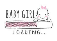 Progress bar with inscription - Baby girl is loading and kid face in sketchy style. Vector illustration for t-shirt design, poster, card, baby shower decoration Baby Icon, Baby Girl Announcement, Baby Posters, Mother Art, Cute Love Images, Baby Dedication, Baby Room Design, Baby Shower Princess, Baby Album