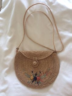 Vintage Boho Woven Natural Straw Purse with by ShopTraceVintage