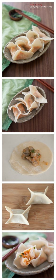Red Curry Shrimp Dumplings Recipe. Addicted to this mildly spicy and absolutely DELICIOUS dumplings. 20 Minutes to make | http://rasamalaysia.com