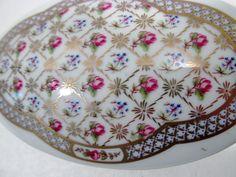 FRANCE CASTEL Limoges Porcelain Trinket Dresser Desk Box Gold and Delicate Roses