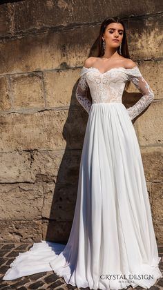 CRYSTAL DESIGN bridal 2016 lace long sleeves off the shoulder sweetheart neckline lace bodice glamorous a line wedding dress sweep train (aida) mv #bridal #wedding #weddingdress #weddinggown #bridalgown #dreamgown #dreamdress #engaged #inspiration #bridalinspiration #weddinginspiration #weddingdresses #crystaldesign #romantic
