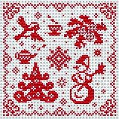 Cross Stitchers Club Red and white Scandinavian style cross stitch Xmas Cross Stitch, Cross Stitching, Cross Stitch Embroidery, Embroidery Patterns, Crochet Christmas Decorations, Holiday Crochet, Modern Cross Stitch Patterns, Cross Stitch Designs, Plastic Canvas Christmas