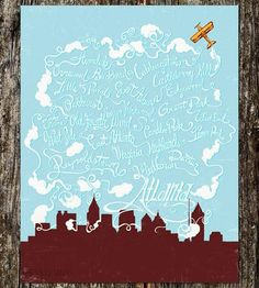 Cute Atlanta Neighborhoods print by Sarah Watts - Love it even though I don't live in any of them. :) Atlanta Travel, Atlanta Neighborhoods, Georgie, Georgia On My Mind, Southern Charm, Best Cities, Vintage Colors, Vintage Posters, The Neighbourhood