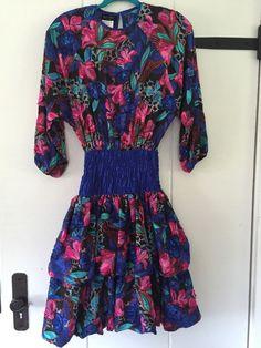2d8496a524115 Vintage Diane Tres Party Dress Georgette Floral Sheer Top Full Skirt M