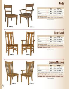 ISSUU - 2013 Wengerd Wood Products Catalog / Chairs / E & G Amish Furniture by E & G Amish Furniture