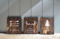 Reclaimed Wood Planked Art - Set of 3 - Rustic Nursery / Woodland - be Brave - have Courage - Explore - Arrows - Antlers - Pine Tree - Kids by DevenieDesigns on Etsy https://www.etsy.com/listing/194807677/reclaimed-wood-planked-art-set-of-3